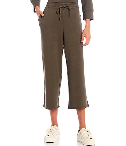 Westbound Soft Touch Wide Leg Cropped Drawstring Pants