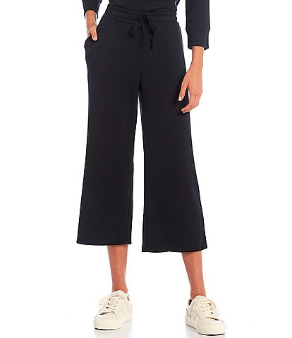 Westbound Soft Touch Wide Leg Cropped Coordinating Drawstring Pants