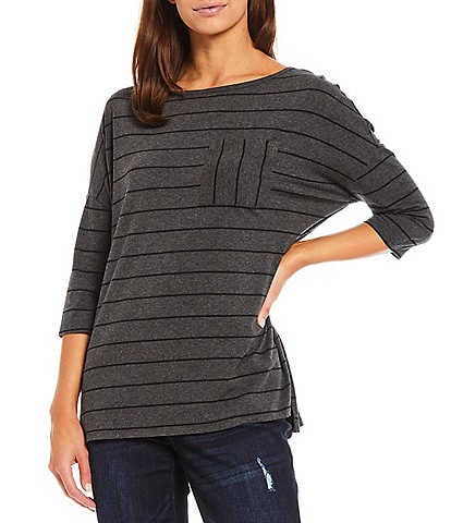 Westbound Striped 3/4 Sleeve Boat Neck One-Pocket Knit Tee