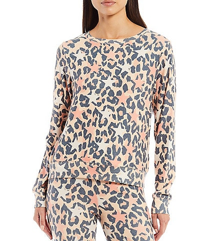 WILDFOX Leopard Stars and Spots Coordinating Long Sleeve Crew Neck Pullover