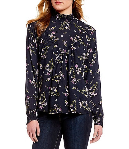 William Rast Dalton Long-Sleeve Floral-Print Top