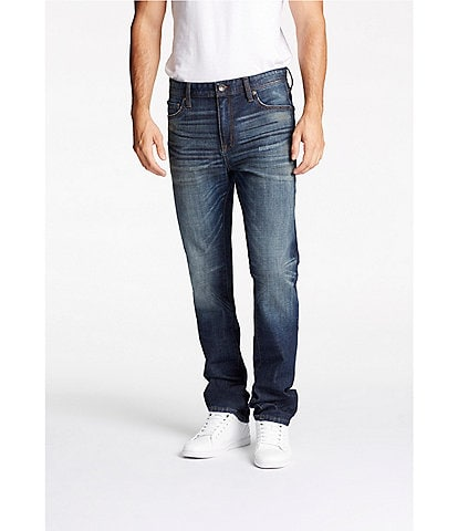 William Rast Hixson Straight-Fit 5-Pocket Whiskered Denim Jeans