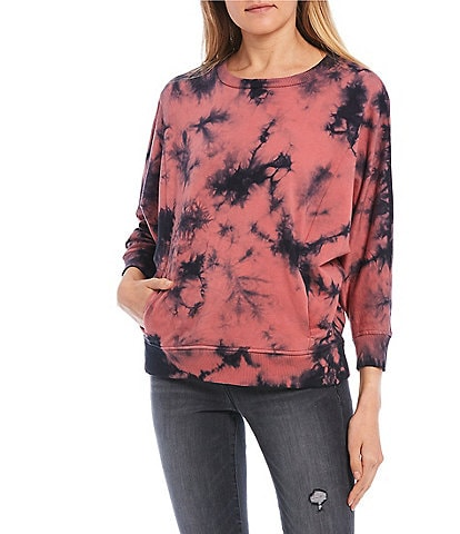 William Rast Meaghan Tie-Dye Long-Sleeve Knit Sweatshirt Top