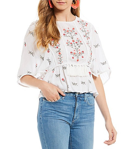 Willow & Clay Embroidered Multi Flower Prairie Top
