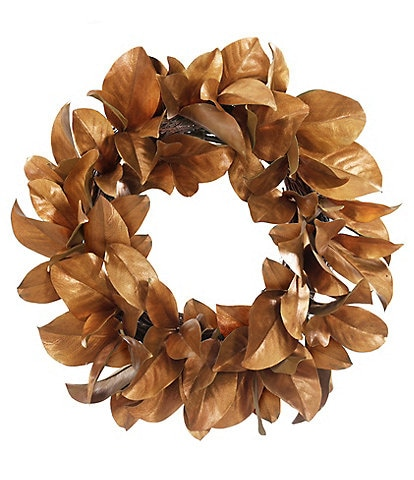 Winward Holiday Collection Permanent Botanical Gold Leaf Magnolia 24#double; Wreath