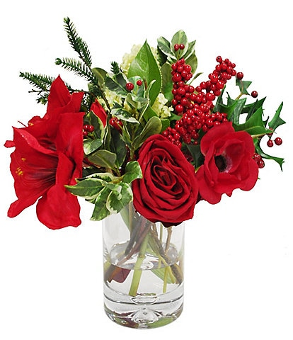 Winward Holiday Collection Permanent Botanicals Amaryllis and Snowball In Glass Vase