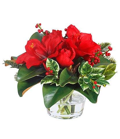 Winward Holiday Collection Permanent Botanicals Amaryllis In Glass Vase