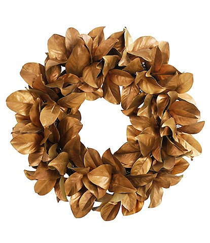 Winward Holiday Collection Permanent Botanicals Gold leaf Magnolia 30#double; Wreath
