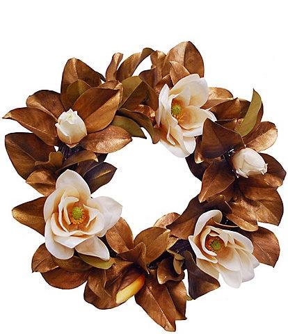 Winward Permanent Botanicals Gold Magnolia 24#double; Wreath
