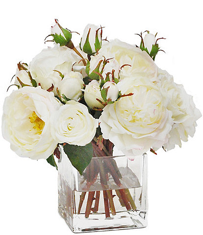 Winward Faux Flowers Mix White Rose In Square Glass Vase