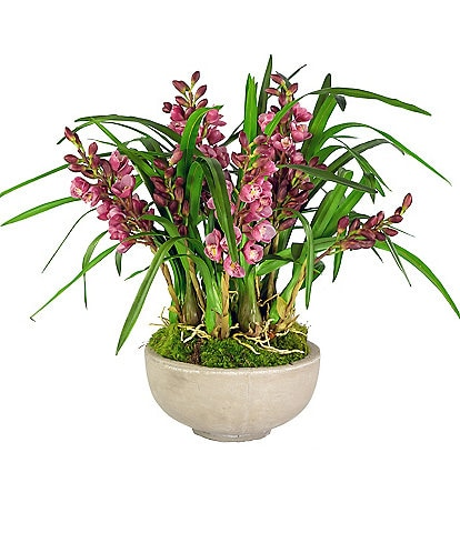 Winward Permanent Botanicals Pink Orchid Cymbidium In Oval Planter