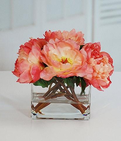 Winward Faux Flowers Peonies In Glass Vase