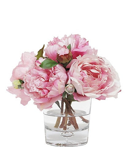 Winward Faux Flowers Peony In Glass Vase