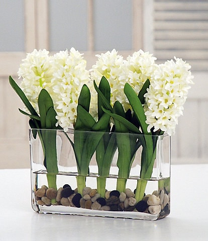 Winward Faux Flowers White Hyacinth In Glass Planter
