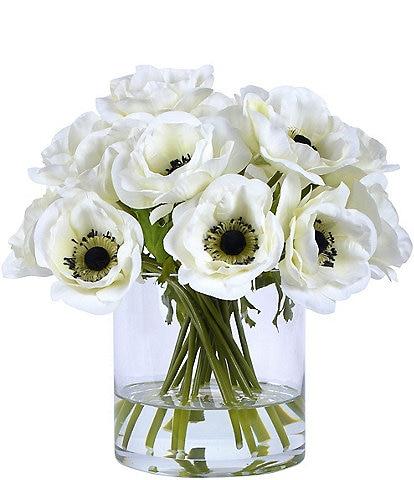 Winward Faux Flowers White Poppy In Glass Vase