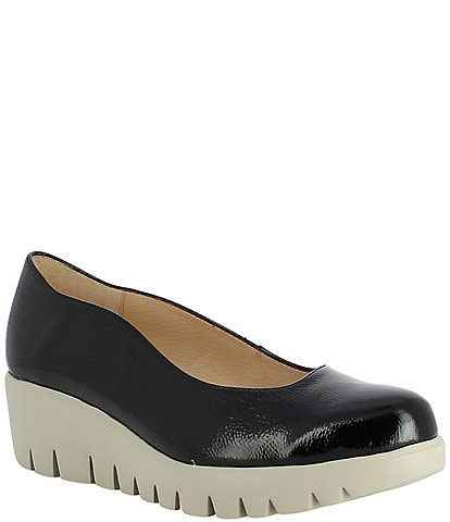Wonders Loulou Patent Leather Extra Light Platform Wedge Pumps