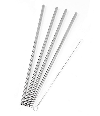 W&P Porter 4-Piece Silver Metal Straw Set