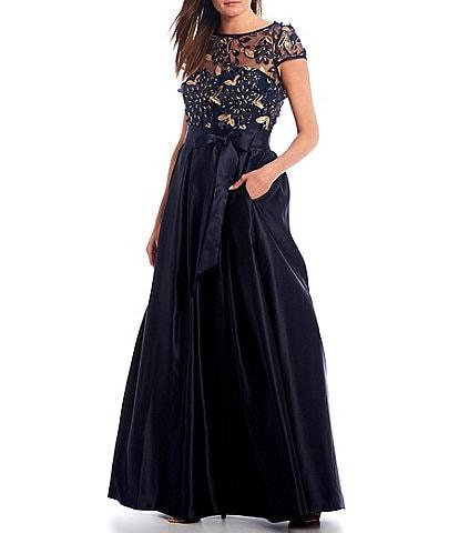 Xscape 3D Flower Bodice Illusion Mesh V-Back Satin Ball Gown