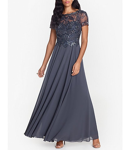 Xscape Beaded Bodice Jewel Neck Chiffon Ballgown