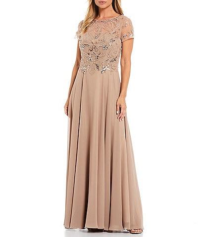 Xscape Beaded Bodice Jewel Neck Illusion Sleeve Chiffon Ballgown