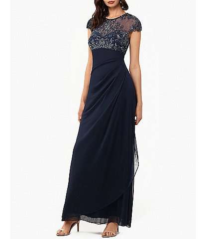 Xscape Beaded Bodice Side Ruched Cap Sleeve Matt Jersey Gown