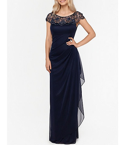 Xscape Beaded Cap Sleeve Illusion Neck Ruched Gown