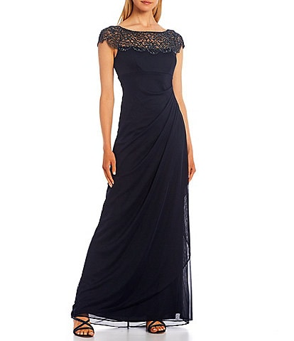 Xscape Embroidered Boat Neck Cap Sleeve Side Rouch Mesh Sheath Gown