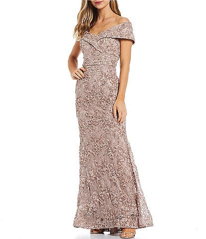 Xscape Embroidered Off-the-Shoulder Short Sleeve Lace Mermaid Gown