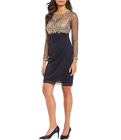 XSCAPE Illusion Applique Yoke Sheath Dress