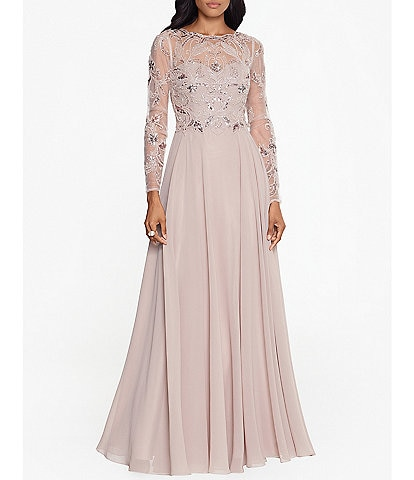 Xscape Long Sleeve Beaded Bodice Chiffon Gown