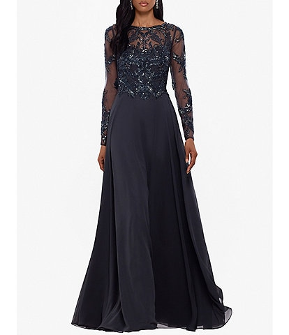 Xscape Jewel Neck Long Sleeve Beaded Bodice Chiffon Gown