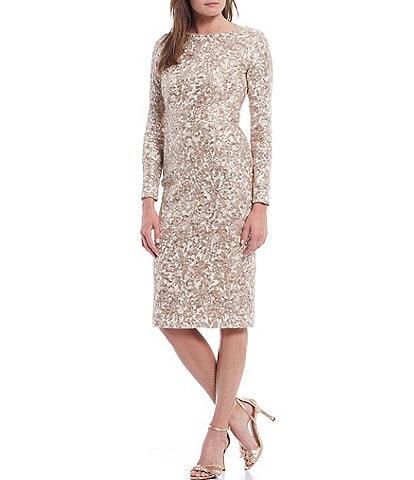 Xscape Jewel Neck Long Sleeve Corded Lace Sheath Dress