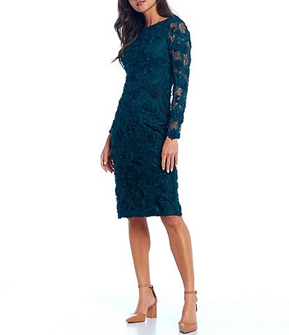 Xscape Long Sleeve Soutache Embroidered Lace Midi Sheath Dress