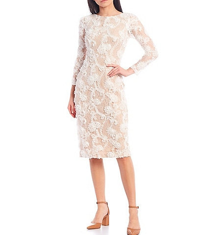 Xscape Long Sleeve Soutache Embroidered Lace Sheath Dress