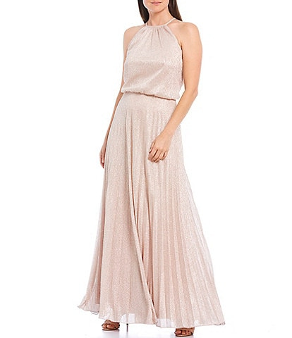Xscape Metallic Pleated Sleeveless Blouson Gown
