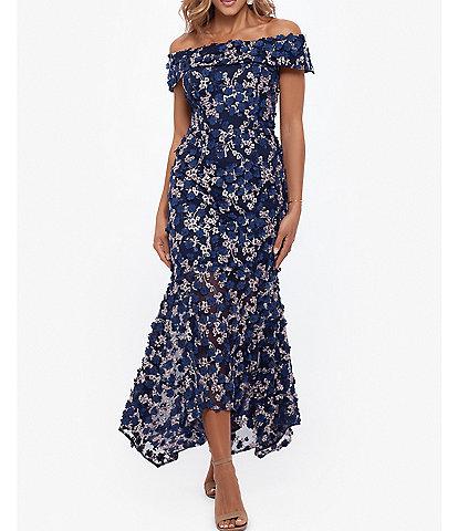 Xscape Midi Raised Flower Off-the-Shoulder Cap Sleeve Flounce Dress