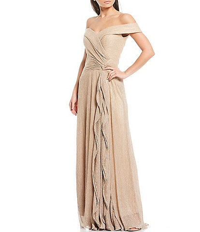 Xscape Off-The-Shoulder Cap Sleeve Ruched Bodice Cascade Front Ruffle Metallic Chiffon Gown