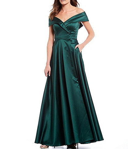 Xscape Off-the-Shoulder Cap Sleeve Satin Ball Gown
