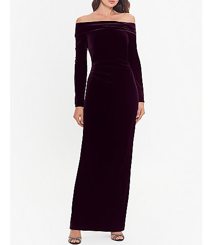 Xscape Off-the-Shoulder Long Sleeve Ruched Waist Velvet Gown