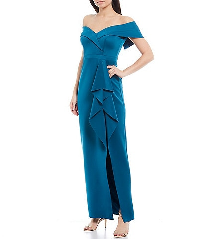 Xscape Off-The-Shoulder Scuba Crepe Ruffle Front Slit Column Gown