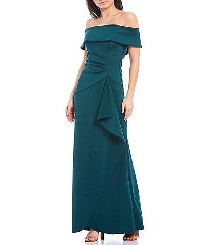 Xscape Off-The-Shoulder Shirred Scuba Crepe Gown