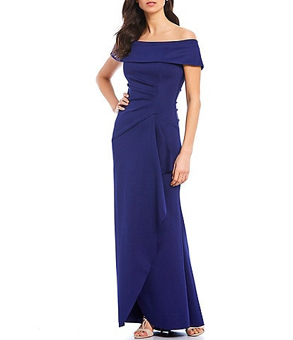 Xscape Off-The-Shoulder Shirred Scuba Crepe Gown