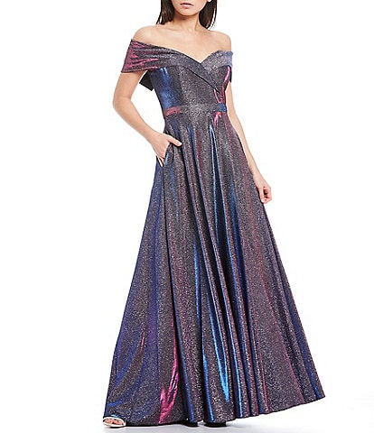 Xscape Off-The-Shoulder Sweetheart Neck Pleated Glitter Ball Gown