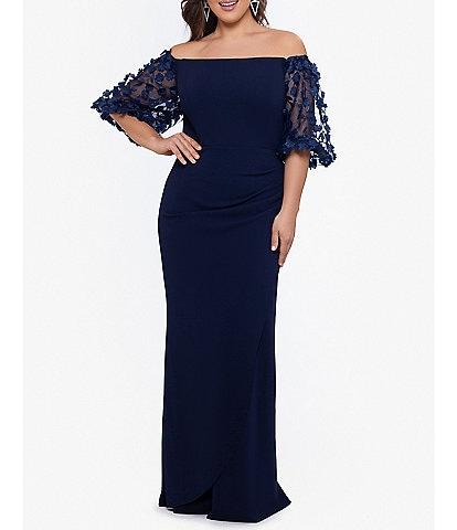 Xscape Plus Size 3D Floral Applique Scuba Crepe Off-the-Shoulder Elbow Puff Short Sleeve Mermaid Gown