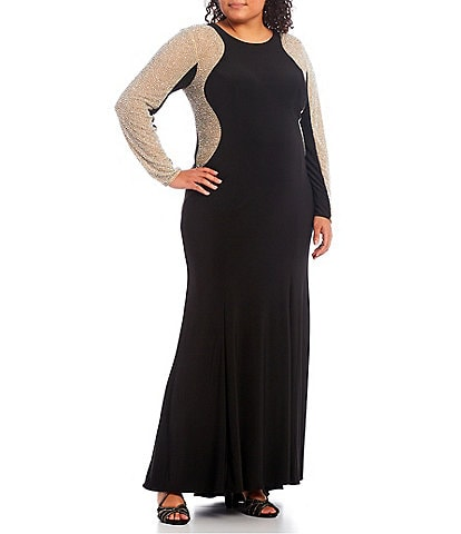 Xscape Plus Size Crystal Beaded Long Sleeve Round Neck Jersey Gown