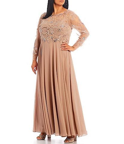 Xscape Plus Size Jewel Neck Long Sleeve Beaded Bodice Chiffon Gown