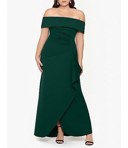 Xscape Plus Size Off-the-Shoulder Lined Scuba Crepe Side Ruche Sheath Gown