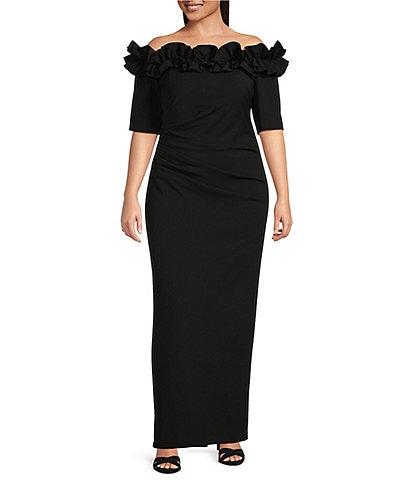 Xscape Plus Size Ruffle Off-the-Shoulder Elbow Short Sleeve Crepe Gown