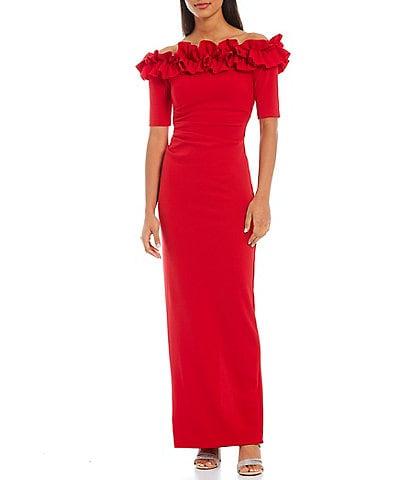 Xscape Ruffle Off-the-Shoulder Column Back Slit Crepe Gown