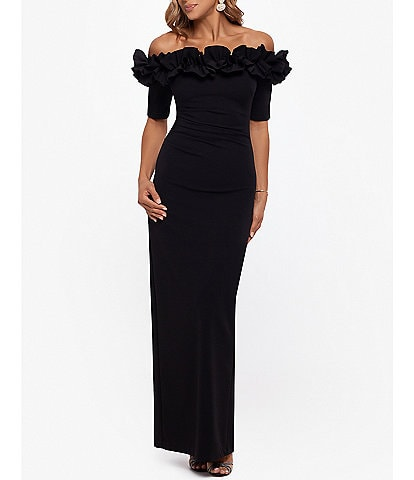 Xscape Ruffle Off-The-Shoulder Crepe Gown